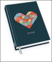 Taschenkalender 'Herz' 2020 - Haferkorn & Sauerbrey - Terminplaner mit Wochenkalendarium - Format 11,3 x 16,3 cm