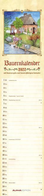 Streifenplaner Bauernkalender 2022 - Streifen-Kalender 11,3x49x5 cm - mit 100-jährigem Kalender und Bauernregeln - Wandplaner - Alpha Edition - Cover