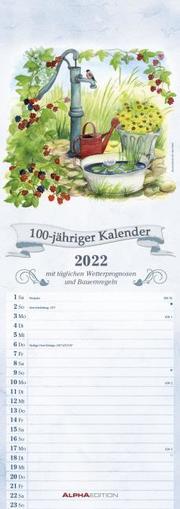 100-jähriger Kalender 2022 - Streifen-Kalender 15x42 cm - mit Wetterprognosen und Bauernregeln - Wandplaner - Küchenkalender - Alpha Edition - Cover