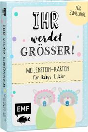 Ihr werdet größer! Meilenstein-Karten für Babys 1. Jahr - Für Zwillinge