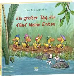Ein großer Tag für fünf kleine Enten