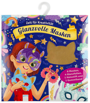 Krickel-Kratz-Malbilder. Glanzvolle Masken (6 Masken, 4 Glanzfolien, ein Holzstift und ein Gummiband)