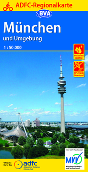 ADFC-Regionalkarte München und Umgebung, 1:75.000, reiß- und wetterfest, GPS-Tracks Download