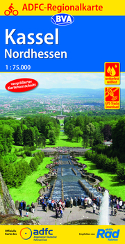 ADFC-Regionalkarte Kassel Nordhessen, 1:75.000, reiß- und wetterfest, GPS-Tracks Download