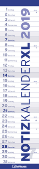 Notizkalender XL Blau 2019
