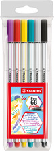 STABILO Pen 68 brush 6er mit Pinselspitze
