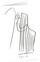 Kunstkarten 'Bote mit Harfe'