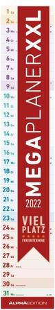Megaplaner XXL 2022 - Streifen-Kalender 17,5x98 cm - mit Ferienterminen - viel Platz für Notizen - Wandplaner - Küchenkalender - Alpha Edition