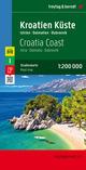 Kroatien Küste, Istrien - Dalmatien - Dubrovnik, Autokarte 1:200.000