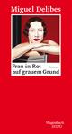 Frau in Rot auf grauem Grund